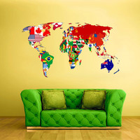 Full Color Wall Decal Mural Sticker Decor Art World Map Banners Flag Countries Paintings (col347)