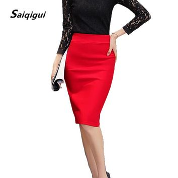 Saiqigui 2017 Summer Autumn women skirts plus size high waist work slim feminine pencil skirt open fork sexy office lady skirts
