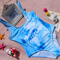 CUTE BLUE LETTERS FRESH BLUE BIKINI SWIMWEAR
