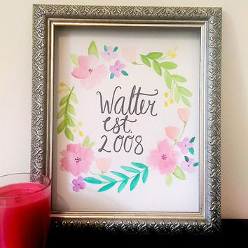 Last Name Established Wall Art Watercolor Painting, Hand lettering, Original, Custom
