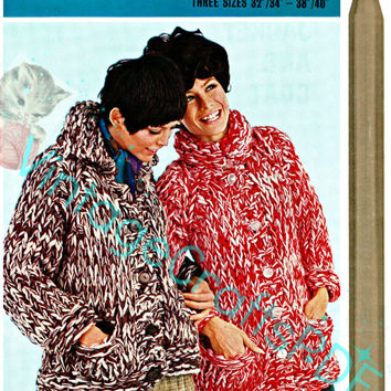 Instant Download-1960s Swish Knit Jacket and Coat-Easy Quick Knit Afghan-Double Knit Afghan-Vintage EXTREME Knitting-gift-Vintage Crafts PDF