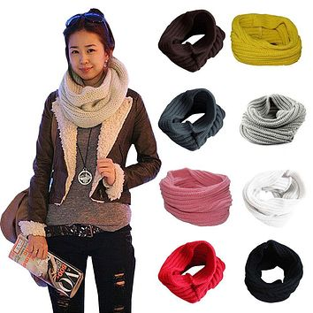 2017 New Ladies Girls All-match Winter Warm Knitting Wool Collar Neck Warmer Scarf Shawl Wraps H9