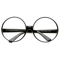 Super Large Oversized Thick Frame Circle Round Clear Lens Glasses