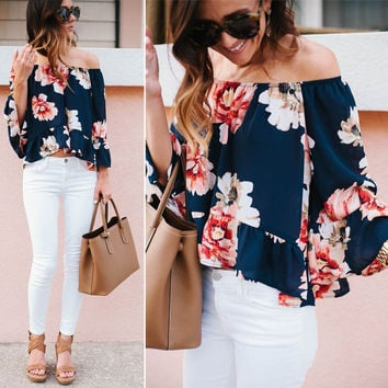 Casual Blouse Flower Clothing Summer Tops Beach Fashion New Women Lady Clothes Yops Off Shoulder S-XL