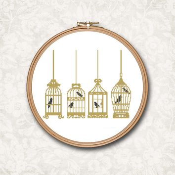 Hanging Gold Bird Cage with Black Birds Cross Stitch Pattern