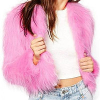 Pink Faux Fur Fluffy Cropped Jacket