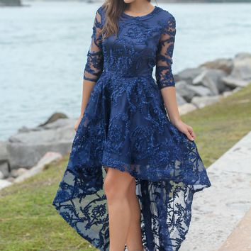 Navy High Low Dress with 3/4 Sleeves