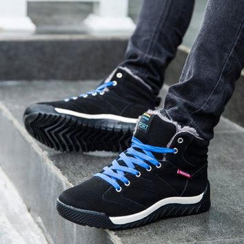 Winter High-top Snow Boots Warm Suede Leather Snow Boot Fur Lined Lace Up Ankle Sneakers for Men Hot