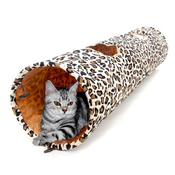 Leopard Print Crinkly Tunnel Cat Toy