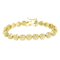 Round Cluster Link Bracelet 14k Yellow Gold Finish Mens Stainless Steel 9MM Sale