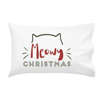 Meowy Christmas Pillowcases - Standard Size Pillow Case (1 20x30 inch, Black) Holiday Gifts