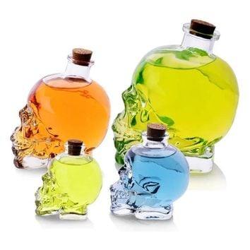 Big Glass Skull Large Apothecary Jar Bottle Decanter Skeleton Cup Poison Potion Xmas Home Garden Tool Supplies