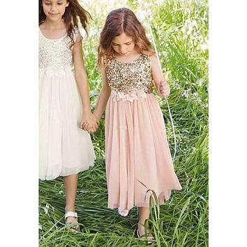 Honey Qiao Blush Flower Girls Dresses 2017 Gold Sequins Hand Made Flower Sash Tea Length Tulle Jewel A Line Conmmunion Dress