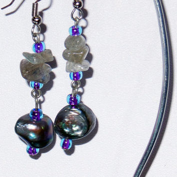 Irridescent Freshwater Pearl & Labradorite Dangle Earrings - One Of A Kind Beauties