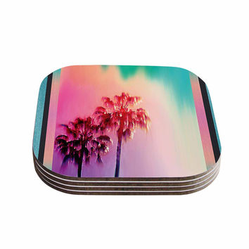 "Nina May ""LA Rainbow"" Pink Blue Coasters (Set of 4)"