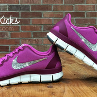Women's Nike Free Run 5.0 V4 Running Shoes Customized With Swarovski Elements Crystal Rhinestones - Pink Purple Magenta White