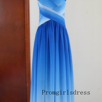 Prom dress, Long Prom Dresses, Ombre Prom Dress, Blue Ombre Prom Dress, Ombre Evening Dress, Prom Dress Plus Size, Ombre Bridesmaid Dress