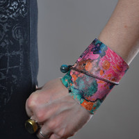 Abstract Leather Cuff Bracelet - Leather Cuff Bracelet - Leather Cuff - Summer Accessories - OOAK Leather Cuff