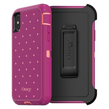 OtterBox DEFENDER SERIES Case for iPhone X (ONLY) - Retail Packaging - CORAL DOT (FUSION CORAL/BATON ROUGE/METALLIC DOT)
