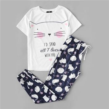 RWL Boutique -  Cute Sleepwear Women Pajamas Set Women Cat Print