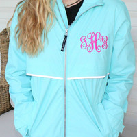 Ladies Raincoat Personalized Aqua Charles River Rain Jacket Elegant Monogram