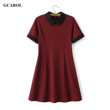 GCAROL Women New Peter Pan Collar Vintage Dress Stretch Slim Spliced Dress Preppy Style Fit and Flare Dress High Quality Dress