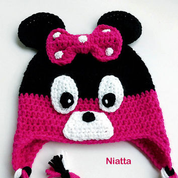 Minnie Mouse Earflaps Crochet Hat Winter Hat Handmade - Any Color Combination Niatta