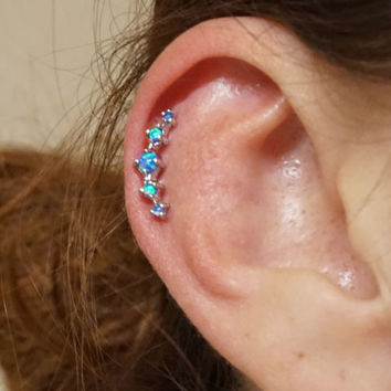 5 Turquoise Blue Fire Opals Stud Cartilage Earring Piercing 16g