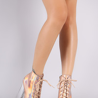 Hologram Lace Up Lucite Chunky Platform Heeled Booties