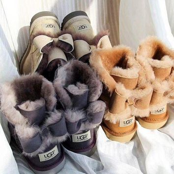 UGG Fashion Winter Women Bowknot Flat Warm Snow Ankle Boots