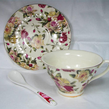 Vintage ROYAL PORCELAIN COLLECTION Limited Edition Sofia Style Bone China Tea Cup and Saucer Set Made in England, Lovely!