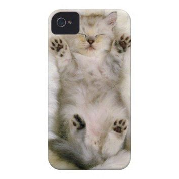 Kitten Sleeping On A White Fluffy Carpet High Case Mate Iphone 4 Cases From Zazzle.com