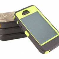 Huaxia Datacom Heavy Duty Hybrid Tough Grass Camo Shockproof Dirtproof Defender Case Cover Hard Case for iPhone 4/4S - Camouflage on Lime Green