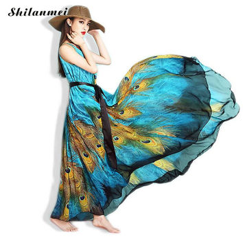 M-9XL Beach Dresses Plus Size 2017 Summer Woman Chiffon Maxi Dress  vintage peacock feather print Summer Sundress vestidos