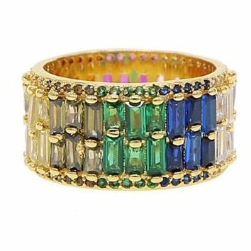 Rainbow Baguette Multicolor Cz Double Road Gold filled Ring