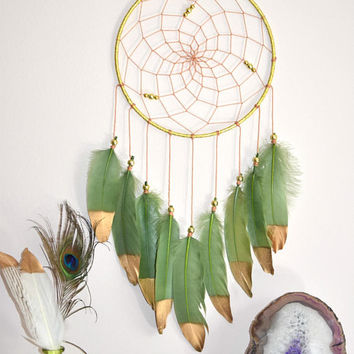 Woodland Nursery Decor, Dream Catcher Wall Hanging, Green Grass Dreamcatcher Decor, Woodland Baby Shower, Tribal Home Wall Decor