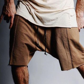 Multiple Spliced Solid Color Shorts Raw Edges Wild Man Cozy Shorts