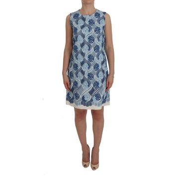 Dolce & Gabbana Blue White Floral Ricamo Shift Dress