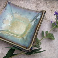 Crystalline Glaze Spoon Rest or Ring Dish in Green & Blue, Hand Built from Porcelain, One of a Kind Tiny Ceramic Plate 4.5 in. sq. Food Safe