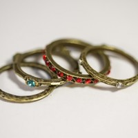 Antiqued Crystal Midi Ring Set - Boho Outfitters