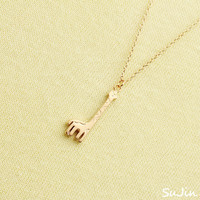 Matte Giraffe Pendant, Gold Plated, Necklace