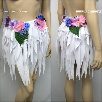 Iridescent Pink and Purple Flower Fairy High Waisted Skirt Costume Dance Rave Halloween