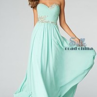 new long Chiffon Beaded Prom Dress Ball Gown Party Evening dresses size 6-16