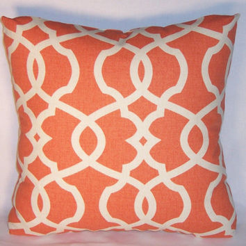 "Tangerine Orange Lattice Trellis Throw Pillow 17"" Square Cotton Geometric Modern Ready to Ship Cover and Insert"