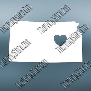 Kansas Heart Home Decal | I Love Kansas Decal | Homestate Decals | Love Sticker | Love Decal  | Car Decal | Car Stickers | 475