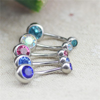 Body Piercing Jewelry Silver Plated Bar Ball Barbell Belly Navel Button Ring