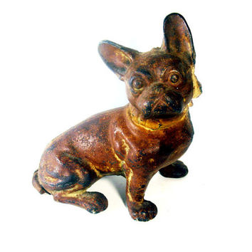 French Bulldog, Cast Iron, Hubley #304, Early 20th century, Vintage Antique Collectible Dog Figurine