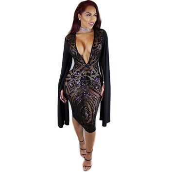 Sexy Club Dress 2016 Autumn Women Long Sleeve Cloak Cape Bodycon Sequin Dress Sexy Black Deep V Neck Party Club Sequined Dress
