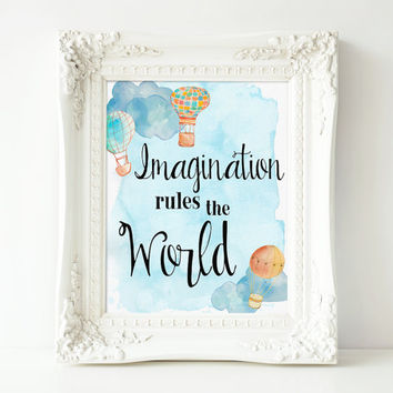 """Printable Imaginaion Quote, Nursey Wall Art, 8x10"""" INSTANT DOWNLOAD"""