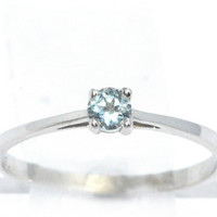 3mm Genuine Aquamarine Round Ring .925 Sterling Silver Rhodium Finish White Gold Quality